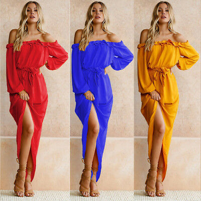 Women Fashion Holiday Off Shoulder Beach Party Evening Cocktail Maxi Long Dress