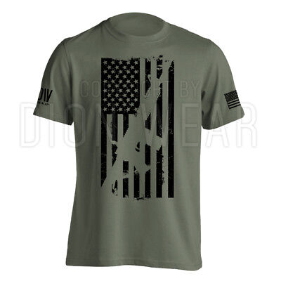 AR15 American Flag M4 T-Shirt Men's Military Army Rifle Gun S-3XL