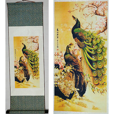 Home decor Chinese silk scroll painting peacock Ink painting