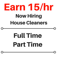 15/hr Part Time House Cleaning Position