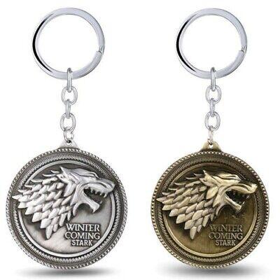 Metal Keyring Game Of Thrones House Stark Direwolf Badge Pendant Key Chain New