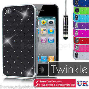 New-Diamond-Bling-Case-Cover-For-Apple-iPhone-4-4S-5-Screen-Protector-Stylus