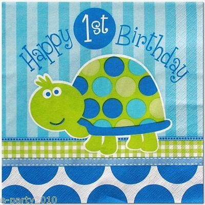 TURTLE 1st Birthday BOY LUNCH NAPKINS (16) ~ Party Supplies Dinner Blue Green - First Birthday Napkins
