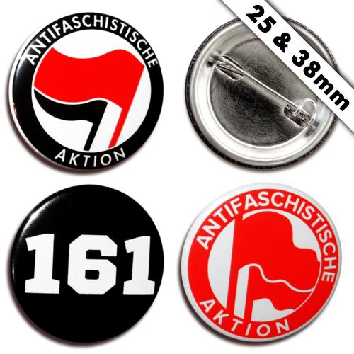 Antifaschistische Aktion Buttons 25/38mm, Pin Anstecker 161 AFA Antifa FCK NZS