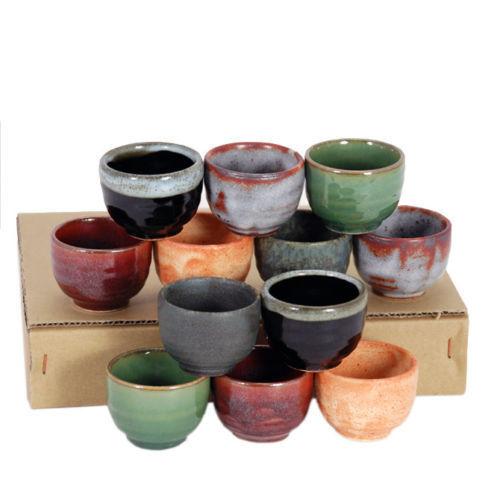 Set of 12 PCS. Japanese Ceramic Sake Cup Set Assorted Color Design Made in Japan