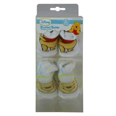 NEW Disney Baby Infant Booties 2-Pair, Winnie the Pooh, 0-6
