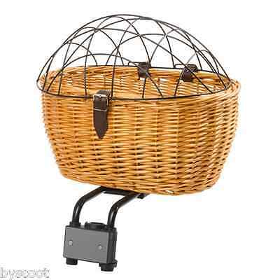 Basket front rear wicker with grid protection dog cat bike binding