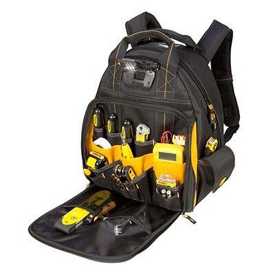 DEWALT Work Gear 57 Pocket LED Lighted Tool Backpack Bag Carrier DGL523 NEW