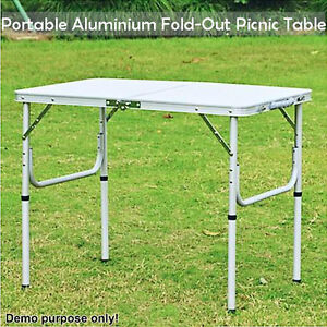 Aluminium folding portable garden camping picnic bbq table - Camping table adjustable height ...