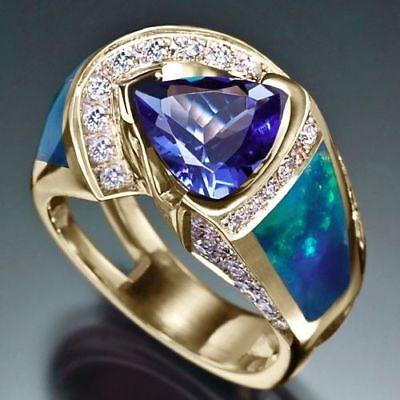 Triangular Sapphire Fire Opal CZ Ring Men Women's Silver Plated Jewelry Sz 6-10
