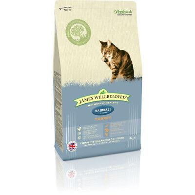 JAMES WELLBELOVED ADULT HAIRBALL TURKEY COMPLETE DRY CAT FOOD 1.5KG