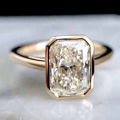 3Ct Radiant Cut White Diamond Bezel Fancy Engagement Ring 14k Yellow Gold Finish - Fancy Yellow Radiant Cut Diamond