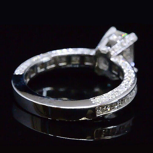 2.25Ct Emerald Cut Diamond Channel & Micro Pave Engagement Ring D,VS2 GIA 14K WG 2