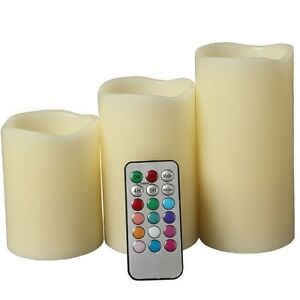 New Set of 3 LED Ivory Color Flameless Candles With Remote Control 4
