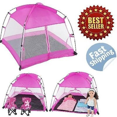 """American Girl Dolls Accessories Canopy Camping Tent Dining Tent Fits 18"""" Doll"""