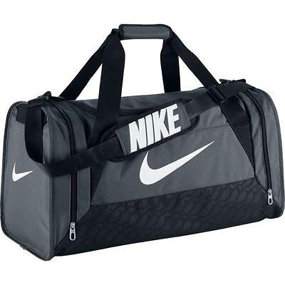 Nike Brasilia 6 Medium Duffel Bag NEW AUTHENTIC Grey/Black BA4829-074