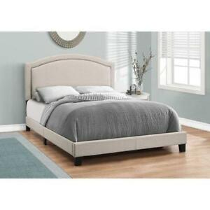 Monarch I 5937Q Transitional Upholstered Platform Bed - Queen - Beige (Open Box)