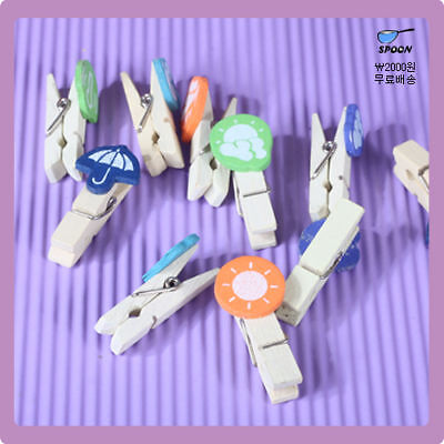 10pcs Weather Icon  Wooden Pegs Photo/Paper Memo Clip