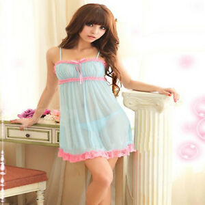 Sexy Women Lingerie Cute Babydoll Dress G-string Nightwear Light Blue