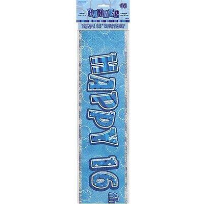 Happy 16th Birthday Banners (Blue Glitz Happy 16th Birthday 12ft Party Banner Parties Banners)
