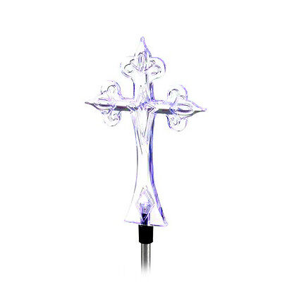 Solar Powered Cross Yard Garden Stake Color Changing LED - Powered Stake