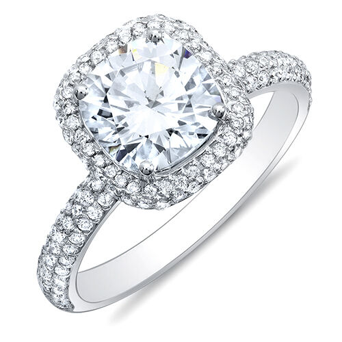 3.04Ct Cushion Cut Micro Pave Halo Round Diamond 18K Engagement Ring F, VVS2 GIA