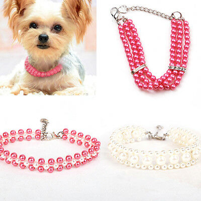1Pcs Dog Necklace Faux Pearls & Bling Rose Collar Jewelry For Pet Puppy Cat