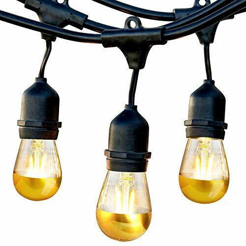 Outdoor String Lights Waterproof Commercial Patio Gazebo Globe LED Bulbs 48Ft
