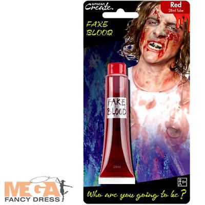 Red Fake Blood Fancy Dress Halloween Zombie Vampire Adults Kid Costume Accessory