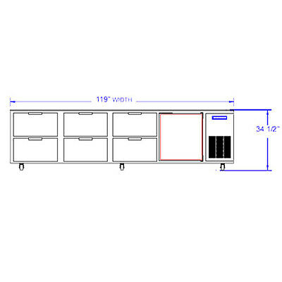Beverage Air Ucrd119ahc-6 119 Undercounter Reach-in Refrigerator W Drawers