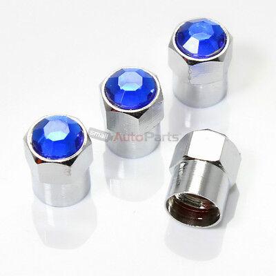(4) Bling Crystal Blue Diamond Tire/Wheel Air Stem Valve CAPS for - Blue Diamond Bling