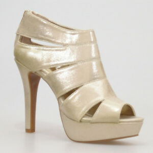 WOMAN-SHOES-CHIC-PALE-GOLD-GLITTER-PLATFORM-HIGH-HEEL-SANDALS-EVENING-PARTY