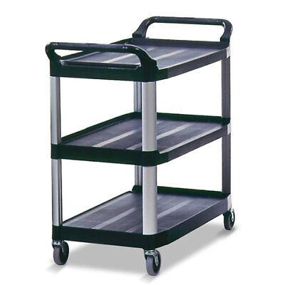Rubbermaid Fg409100bla Kitchen Utility Cart Plastic No End Panels Black
