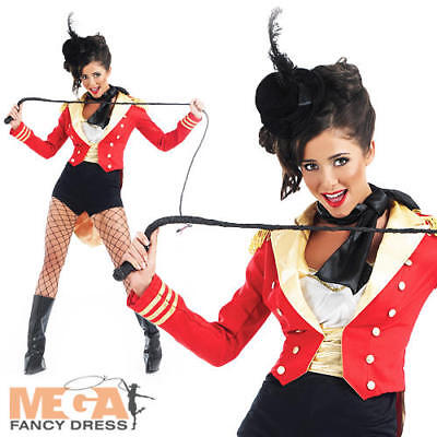 Sexy Ringmaster Ladies Fancy Dress Circus Ring Leader Lion Tamer Costume Outfit