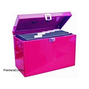 Pink Metal File Foolscap Box Home Office Desktop Document Storage Organiser Lock
