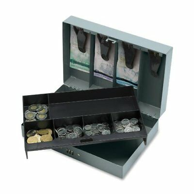 Sparco Steel Combination Lock Cash Box - 6 Coin - Steel - Gray - 3.2 Height X