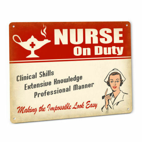 Nurse Sign for Female RN LVN LPN CNA ADN BSN DNP Medical Metal Wall Decor 189