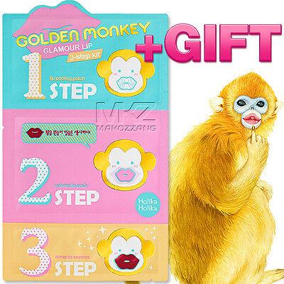 (Holika Holika Golden Monkey Glamour Lip 3-Step Kit Mask Peels Scrubs Exfoliators)
