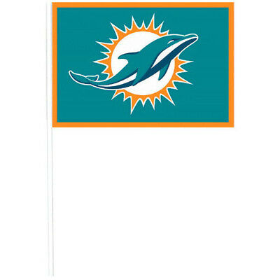NFL Miami Dolphins PLASTIC FLAGS (12) ~ Birthday Party Supplies Favors - Party Supplies Miami