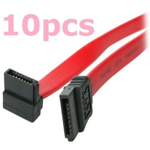 10 Pack 16 Serial ATA SATA Straight to Right Angle DATA HDD Hard Drive Cable Computer Cables & Connectors