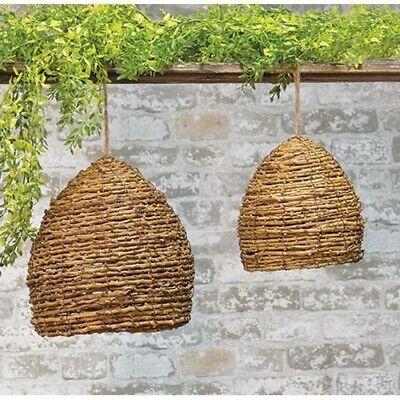 New Primitive Rustic SET 2 BEE SKEP Honey Bee Hive Decorative Garden Twig Vine (Beehive Decor)