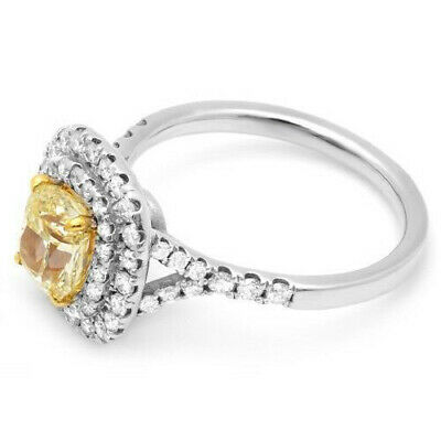 2.00 Ct Double Halo Canary Cushion Cut Diamond Engagement Ring 14K SI2 GIA 1
