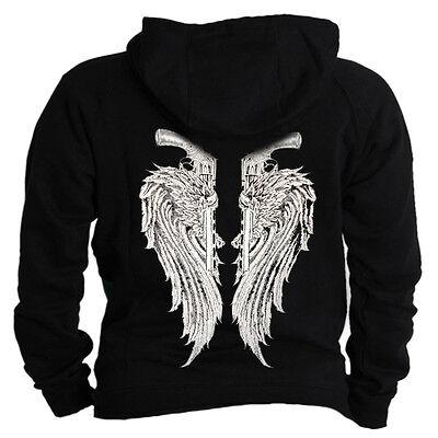 Angel wings on back guns winged design shirt Hoodie Hooded sweater Sweatshirt Angel Wings Hooded Sweatshirt
