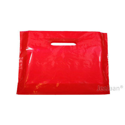 100 Red Plastic Carrier Bags 22