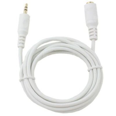 (6 FT 3.5mm Gold Plated Stereo Male- Female Audio Headphone Extension Cable White)