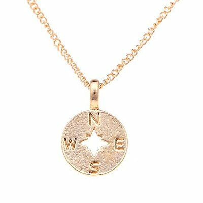 """Engraved Compass Heart Pendant Message Card Necklace for Women Girls 16+2"""""""