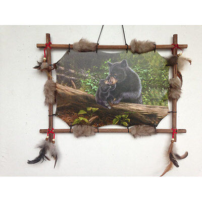 """22""""x16"""" Black Bears Cub Forest Dream Catcher Wall Hang Decor Feathers Wood Frame"""