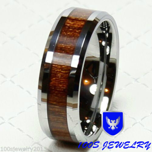 Tungsten Carbide Beveled Edge Comfort Fit Half-Round Band Ring with Wood Inlay