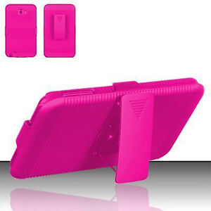 For-Samsung-Galaxy-Note-COMBO-Belt-Clip-Holster-Case-Cover-Kick-Stand-Hot-Pink