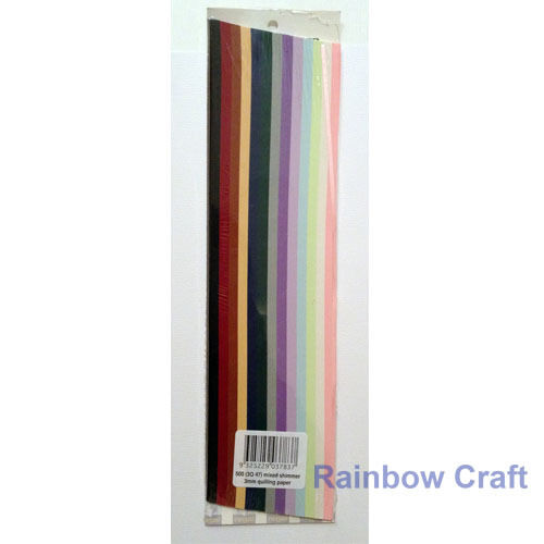 500 Strips 3mm Quilling Paper (110GSM) 8 multicolor & 27 single colors /U select - Shimmer